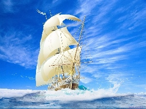Waves, sailing vessel, sea