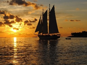 sea, sailing vessel, sun, clouds, west
