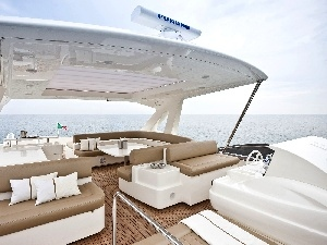 White, deck, sea, Yacht