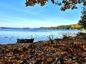 lake, autumn, Sky, maple, Boat, Leaf