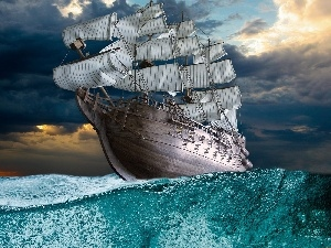 Ship, water, Sky, sails