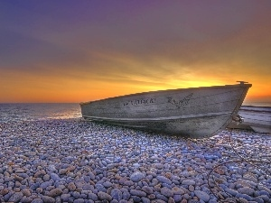sea, west, Stones, Boat, Beaches, sun