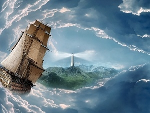 sea, sailing vessel, Storm, Sky