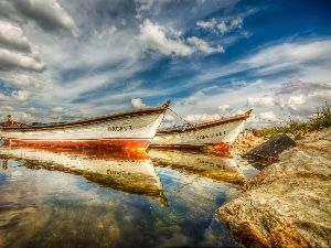 clouds, Beaches, Boats, Sky, sea, Two, reflection