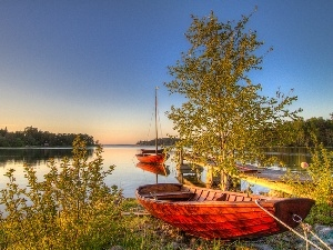 viewes, boats, lake, trees, Sky