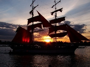 sun, sailing vessel, west
