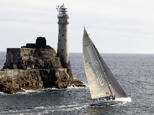 Lighthouses, Rock, Yacht, an