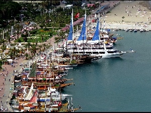 Harbour, sea, boulevard, wharf, Antalya, Yachts, VEGETATION
