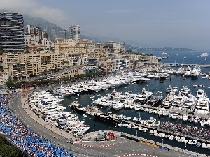 town, Monaco, Yachts, vessels, port, panorama